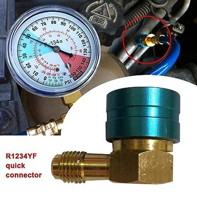 Bettying R1234YF Connecteur Rapide de réfrigérant pour climatiseur et de fluorure Buse de Connexion Liquide Simple QC1234L13LS Connecteur Rapide en Aluminium R1234YF Auto et Moto