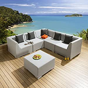 Premium Modular al aire libre jardín sofá de esquina Sunbrella gris tela 3093