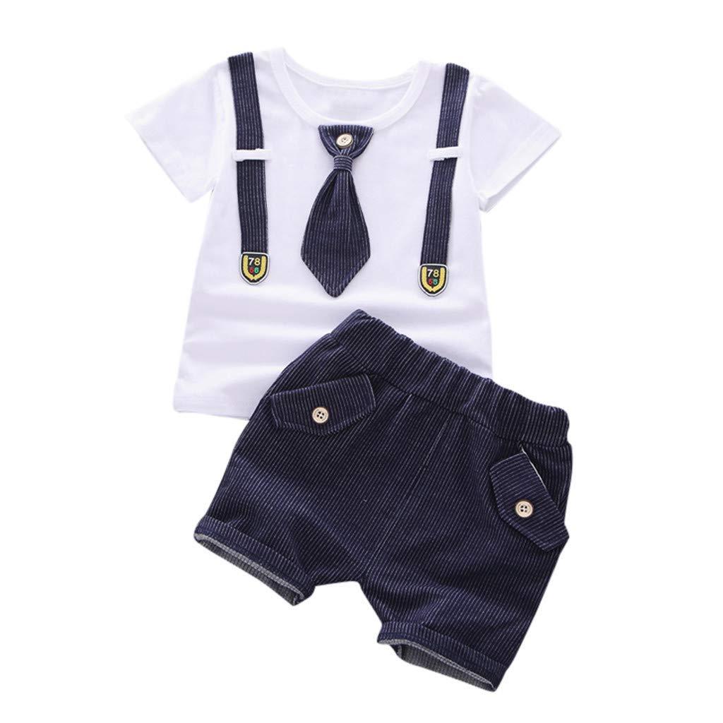 ❤️ Mealeaf ❤️ Summer Toddler Kids Baby Boys Short Sleeve Bow Tie Tops T-Shirt + Shorts Set(Navy,110)