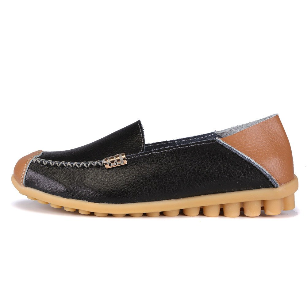 MXTGRUU Women's Leather Casual Slip-ONS Shoes B07D3N2P89 7.5 B(M) US|Black