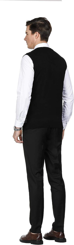 PaulJones Mens V-Neck Slim Fit Argyle Sweater Vest Sleeveless Knitted Gilet
