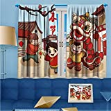 SCOCICI1588 Solid Rod Pocket top Thermal Insulated Window Blackout Curtains Spring Festival lion dance illustrations for Dining Room W104'' x L84'' Pair
