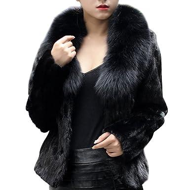 9f448ccb2a57 Manteau Fausse Fourrure Femme Cardigan Veste Longue Parka Manteaux À Manches  Longues Outwear Noir S