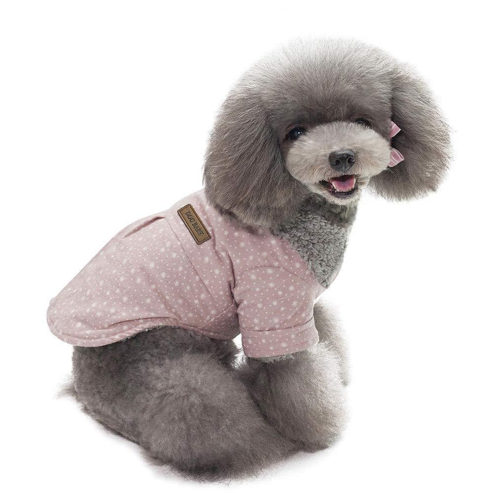 Fathoit Winter Hoodie De Chien Sweater Warm Shirt Manteau Chien Vetement Chiot Chiens VêTements, Pet Dog VêTements d'hiver Chauds Chiot Chats Chandail VêTements Little Star Point Manteau(M, Rose)