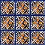 """Color y Tradicion 9 Mexican Tiles 4"""" x 4"""" Hand Painted Talavera C116"""