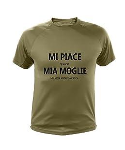 AtooDog Maglietta da Caccia, Mi Piace Quando mia Moglie Mi Lascia Andare a Caccia (40170, Verde, S)