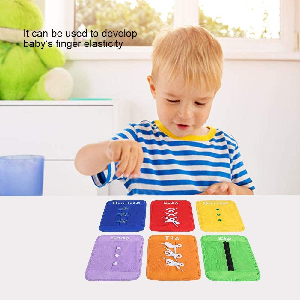 Ties Snaps and Buttons for Toddlers Early Educational Learning Cards 6pcs Learning Cards Toys with Non Woven Fabric Zippers Lace Buckles