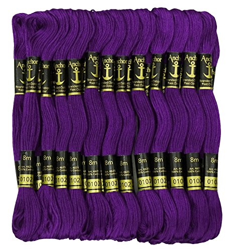 (25 x Anchor Threads Cross Stitch Hand Embroidery Floss Stranded Cotton Thread Skeins-Purple)