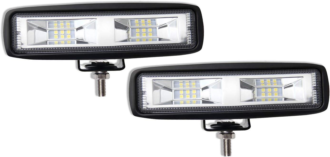 LED Light Bar 6 inch Cool White Led Pods Off-Road Light Bar 6500K Flood Driving Lights Driving Lamps White Led Work Light Bar for SUV ATV Truck Garden Lighting (921T-2pcs)