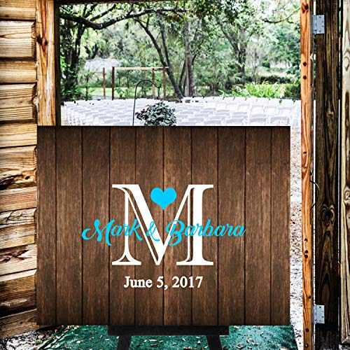(CELYCASY Rustic Wood Pallet Monogram Wedding Welcome Sign Guest Book Alternative Guest Book Wedding Guestbook Alternative Custom Wood Guest Book #WS3)