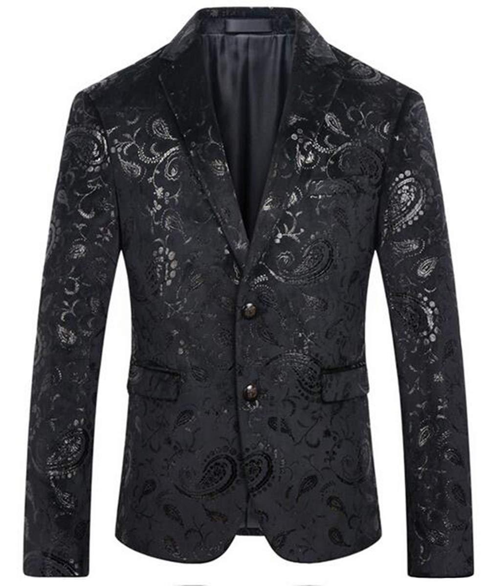 Men's Fashion Suit Jacket Blazer One Button Luxury Weddings Party Dinner Prom Tuxedo (1344 Black, L) by Beninos