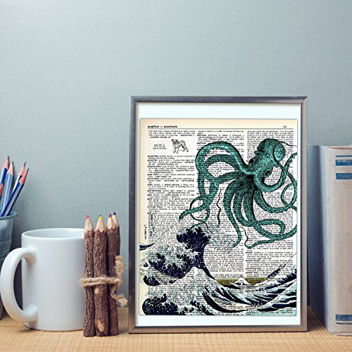 akeke Blue Octopus Upcycled Vintage Dictionary Art Print 8x10 Unframed