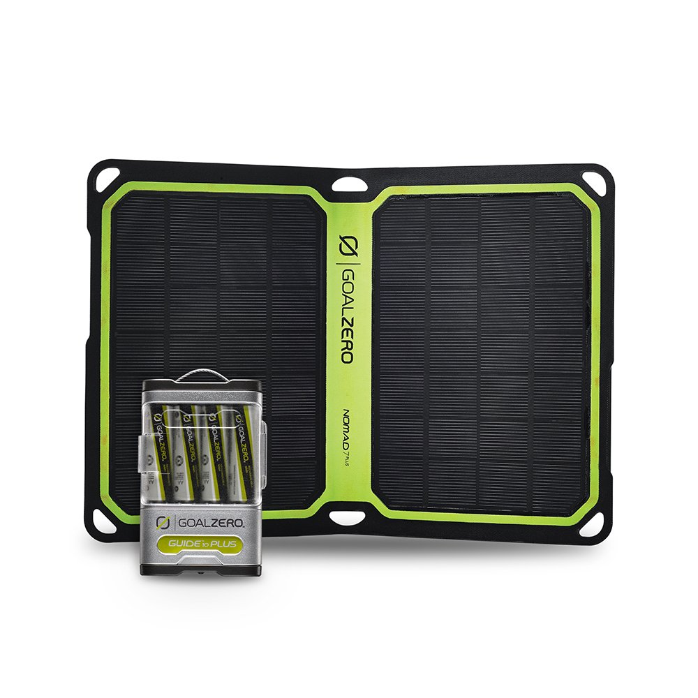 Goal Zero Guide 10 Plus Solar Recharging Kit with Nomad 7 Plus Solar Panel, 2300mAh Power Bank, AA AAA Battery Recharger with 7 Watt Foldable Monocrystalline Solar Panel