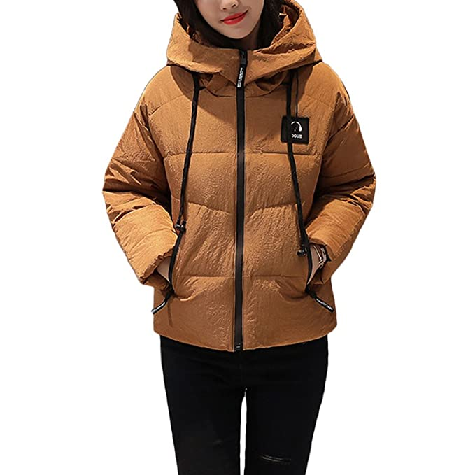 Zhuhaitf Comodos Abrigos de Mujer Fashionable Outdoor Quilted Down Jackets Womens Short Style Warm Slim Hooded Cotton Dress Jacket Outwear: Amazon.es: Ropa ...