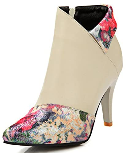 Women's Floral Print Pointed Toe Side Zipper Stiletto High Heel Ankle Boots