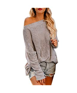 New TIFENNY Women's Casual Loose Shirt Lady Cold Shoulder Long Sleeve Solid Pullover Tops Blouse Beige