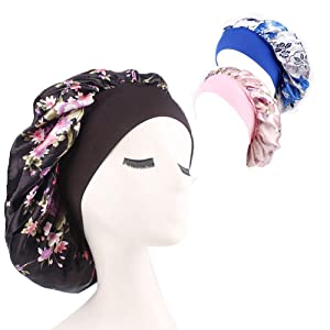 3 Packs Soft Satin Sleeping Cap Salon Bonnet Night Sleep Hat Hair Loss Cap (Flower Pattern Wide Band)
