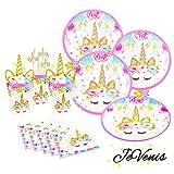 Serves 12 JeVenis Magical Unicorn Party Supplies Set Unicorn Plates Cups Straw Napkin for Birthday Birthday Baby Shower Party Supplies (Style1)