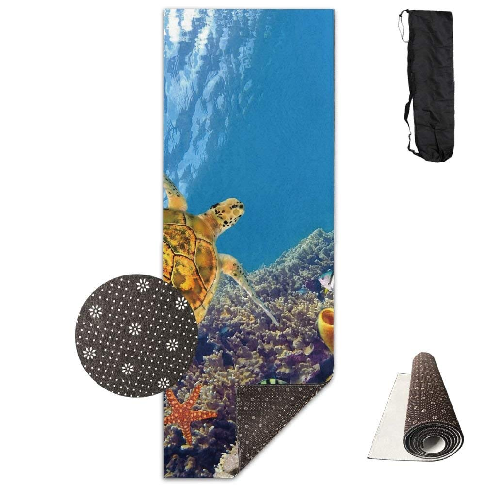Sea Turtle Coral Deluxe Yoga Mat Aerobic Exercise Pilates