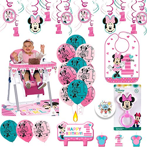 Minnie Mouse First Birthday Fun to Be One 1st Birthday Party Supplies Decoration Pack Includes: Swirl Decorations, Baby Bib, Birthday Candles, Balloons, High Chair Decoration Kit, and Birthday Pin