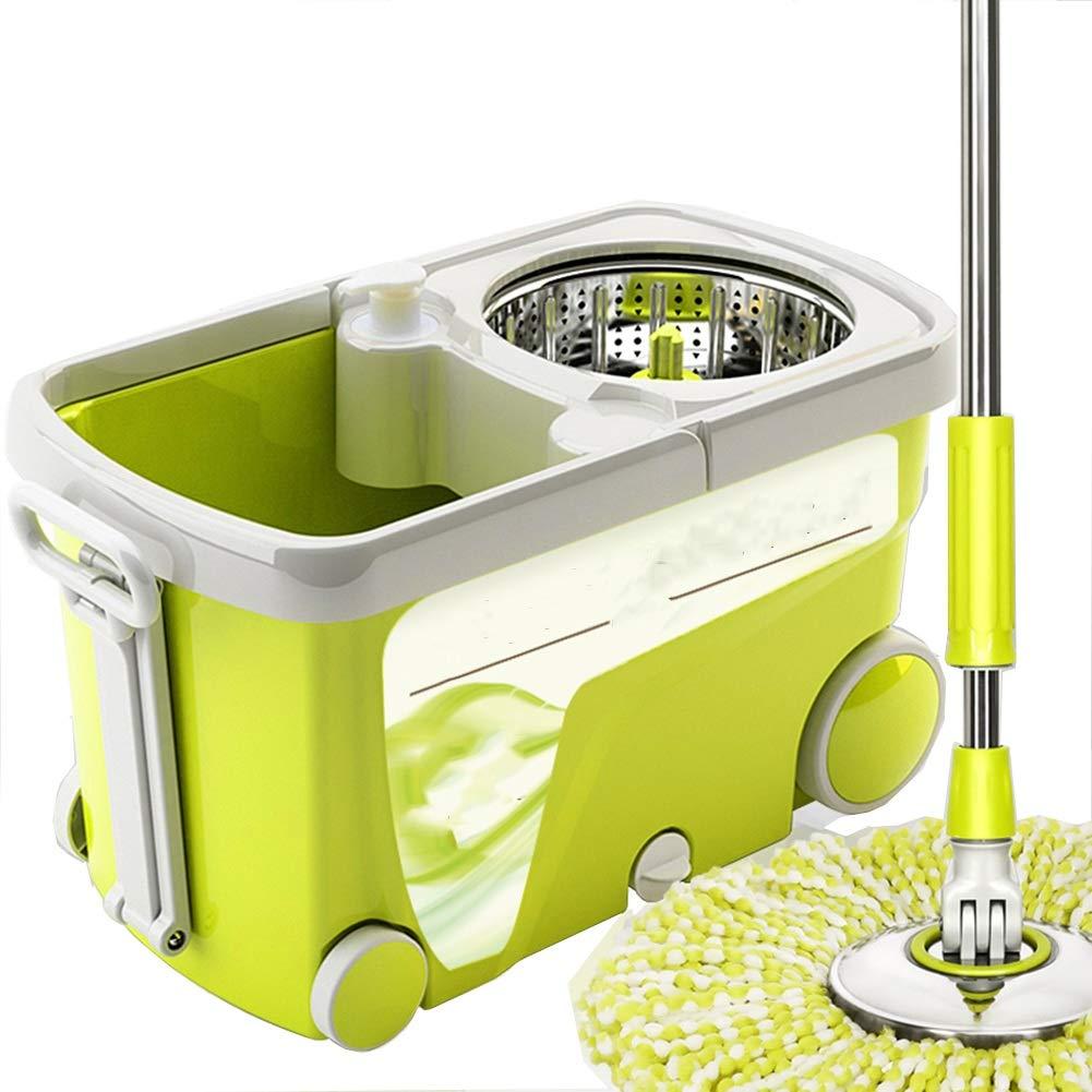モップ 回転する 手洗い無料 ウェットとドライ ダブルドライブ 水の自動拒否 家庭 ラウンジ モップ モップのバケツ、 2モップヘッド (色 : Green ash) B07HX354CT Green ash