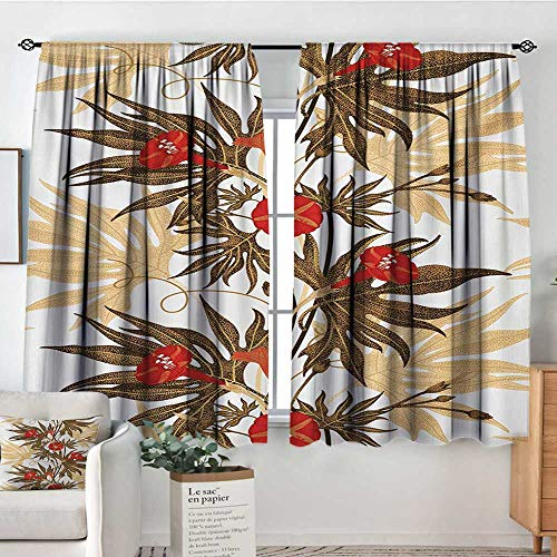 All of better Floral Blackout Window Curtain Exotic Climbing Plant Ivy Flowers Leaves Vintage Blooms Botanical Artwork Waterproof Window Curtain 63