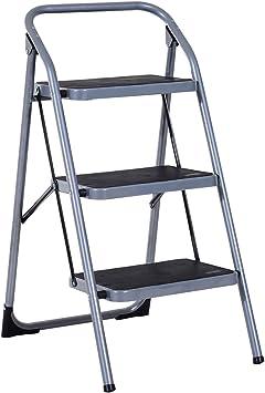 HOMCOM Escalera Plegable de Acero Taburete Escabel Base Antideslizante Tijera 2 Modelos (3 Peldaños): Amazon.es: Bricolaje y herramientas