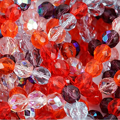 Czech Fire Polish 6mm Beads Melonberry Mix Red Purple Orange (50)