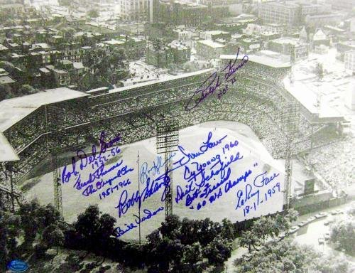 Forbes Field Pittsburgh Pirates autographed photo 11x14 signed by Kiner, Law, Kline, Schofield, Face, Friend, Thomas, Del Greco, Shantz, & Virdon