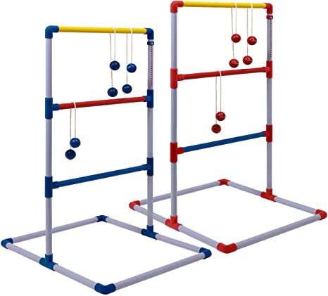 Ladder Ball Toss Game Sports Deluxe Outdoor Ladder Ball Game for Backyard Party Camping Beach Games Blue