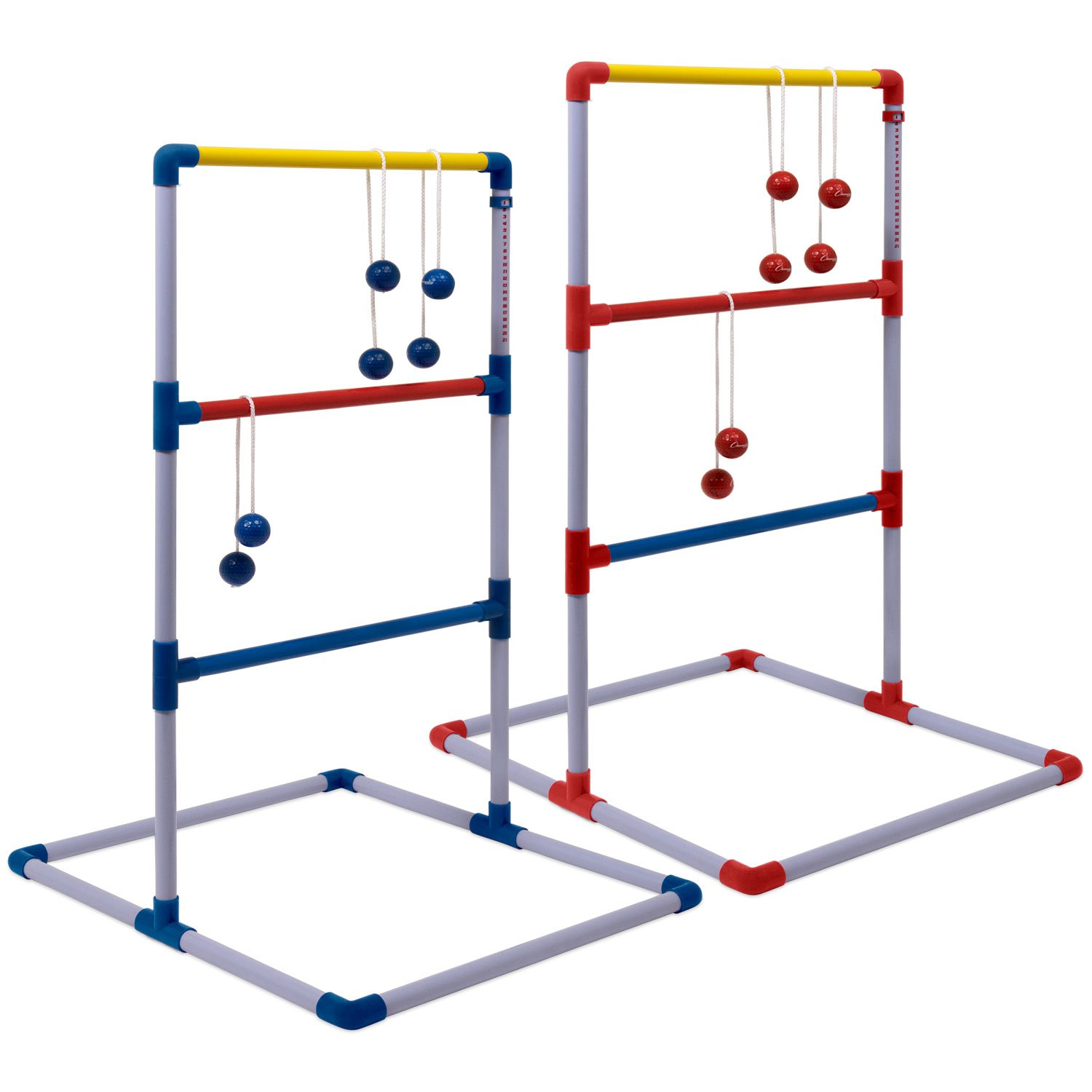 Champion Sports Deluxe Outdoor Ladder Ball Game: Backyard Party, Camping & Beach Games Ladder Golf Set for Adults and Kids with Bolas Balls and Carrying Case by Champion Sports