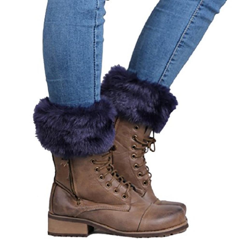 Women's Girl's Cute Faux Fur Trim Knitted Leg Warmers Boot Cuff Toppers Acamifashion WIAL120446K7DG95259