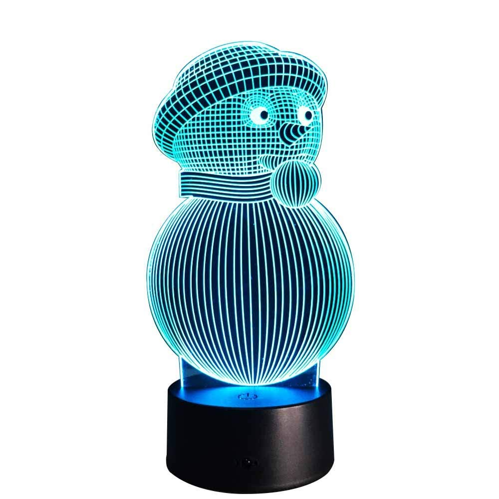 Novelty Lamp, Christmas Snowman LED Table Lamp Night Light 3D 5 Color Change Button Switch+Bluetooth Speaker-USB Battery Power,Ambient Light
