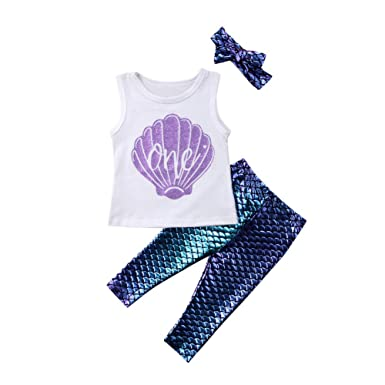 c551df564 Carolilly Toddler Baby Girls Little Mermaid Outfit 1 Birthday ...