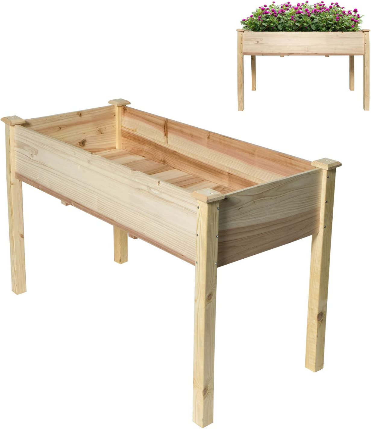 Homewell Raised Garden Bed with Legs Elevated Wood Planter Box Stand for Backyard, Patio - Natural Pine (48 x 23 x 30)