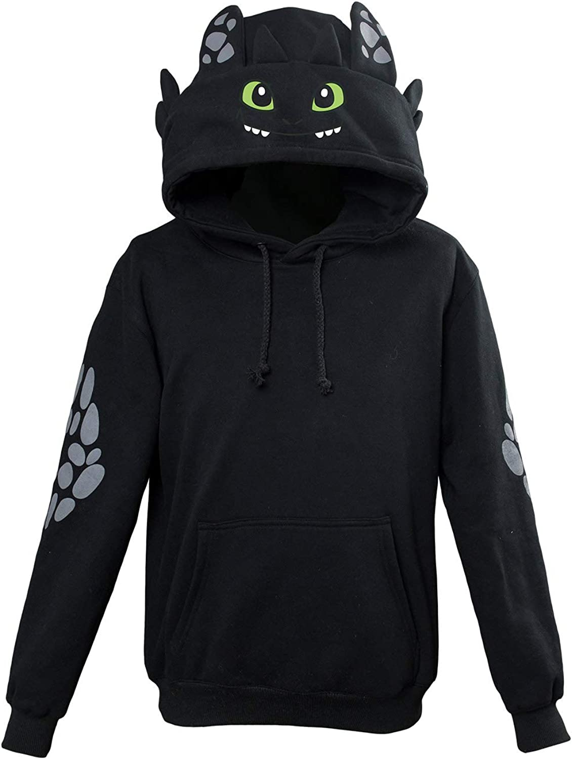 Height:63-67In , Black Hibuyer Childrens Toothless Pullover Hoodie Zipper Top Light Fury Sweatshirt Adult Jacket Cosplay Costume Unisex Child L