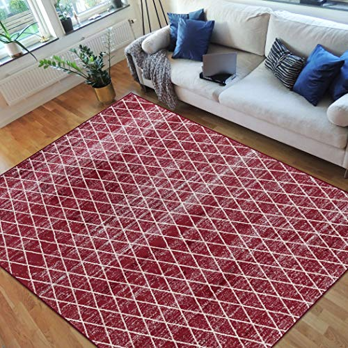 (Handcraft Rugs-Moroccan Trellis/Diamond Pattern Area Rug- Red/White/Gray )