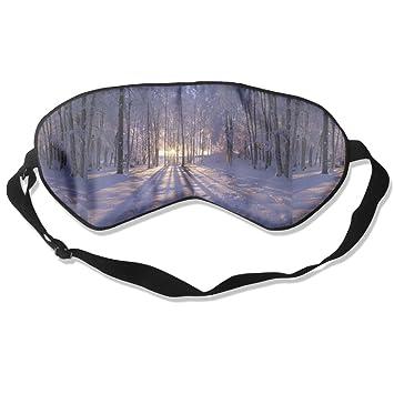 Máscara de Sol de Seda Natural para Dormir de Invierno con Ojales Ajustables para Hombres,