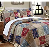 Cozy Line Home Fashions Sanders Floral Real Patchwork Red Navy Country Style 100% Cotton Reversible Coverlet, Bedspread, Quilt Bedding Set, Gift for Women (Red/Navy, Queen - 3 Piece)