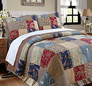 Cozy Line Home Fashions Sanders Quilt Bedding Set, 100% Cotton Floral Real Patchwork, Red Navy Country Style, Reversible Coverlet, Bedspread Set, Gift for Women, (King - 3 Piece)