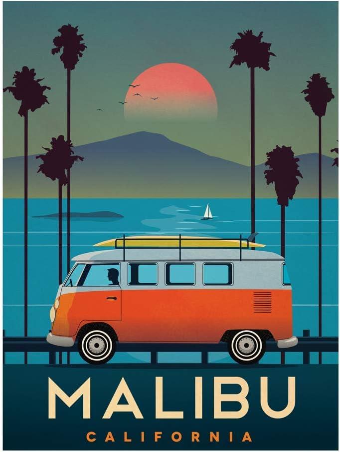 Generic Vintage Malibu California USA City Art Poster Print Wall Decor 24x36 Inches Photo Paper Material Unframed
