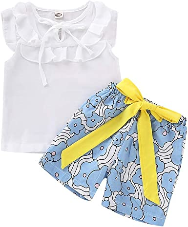 Toddler Kid Girl Solid Top T-shirt+Floral Shorts Pant Summer Outfits Set Clothes