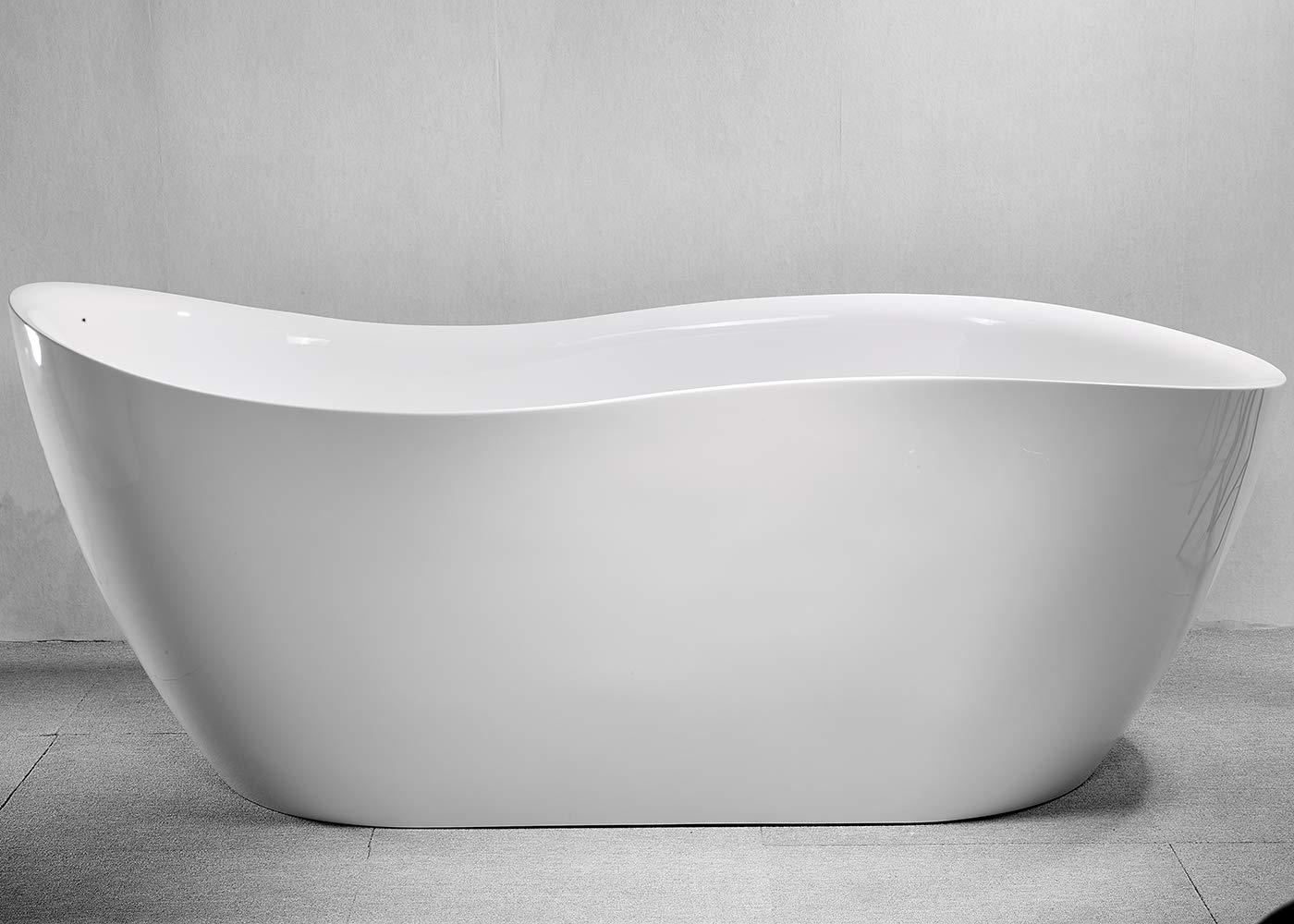 CRACCO SPA Acrylic Freestanding bathtub Soaking Bathtub, White Modern Stand Alone bathtub, Easy to Install, cUPC Certified, Drain & Overflow Assembly