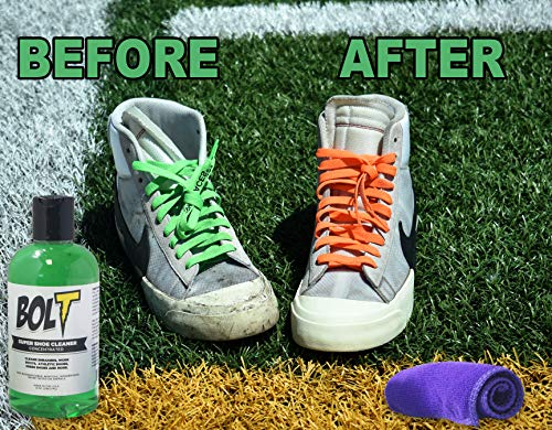 Bolt Premium Shoe Sneaker Cleaner Kit - Shoe Brush, 8 Oz. Concentrated Solution (2 Quarts After Dilution), Microfiber Towel. Biodegradable, All-Natural. Safe on Vinyl, Rubber, Fabrics, Canvas, Leather by BOLT (Image #2)