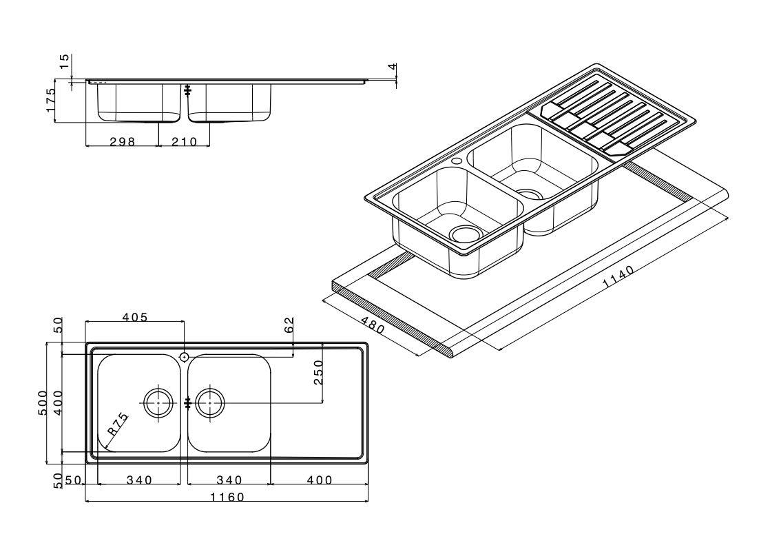 Lavello cucina incasso Apell Melodia acciaio Inox cm.116x50,2 vasche a destra