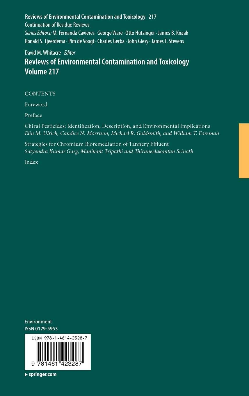 Reviews of Environmental Contamination and Toxicology Volume 217