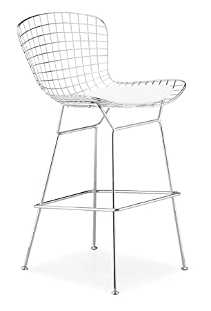 Wondrous Nicer Furniture Set Of 2 Harry Bertoia Chromed Steel Wire Frame Bar Height Barstool With Leatherette Pu Pad Ocoug Best Dining Table And Chair Ideas Images Ocougorg