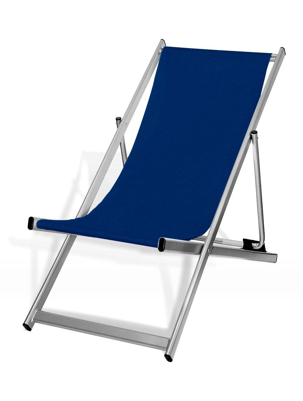 Liegestuhl, klappbar, Aluminium, Sitzbezug Dunkelblau, silber ...