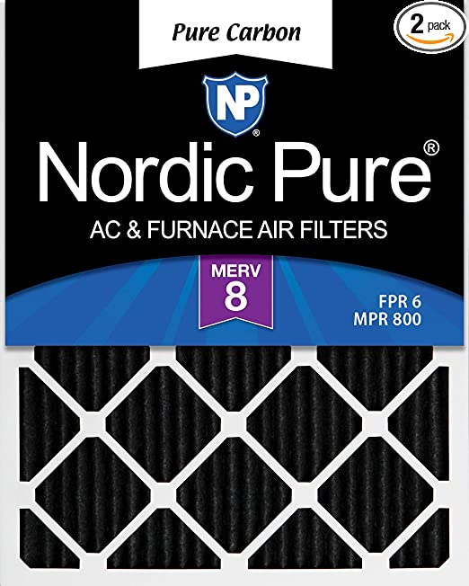 Nordic Pure 14x28x1 Exact MERV 8 Pure Carbon Pleated Odor Reduction AC Furnace Air Filters 6 Pack