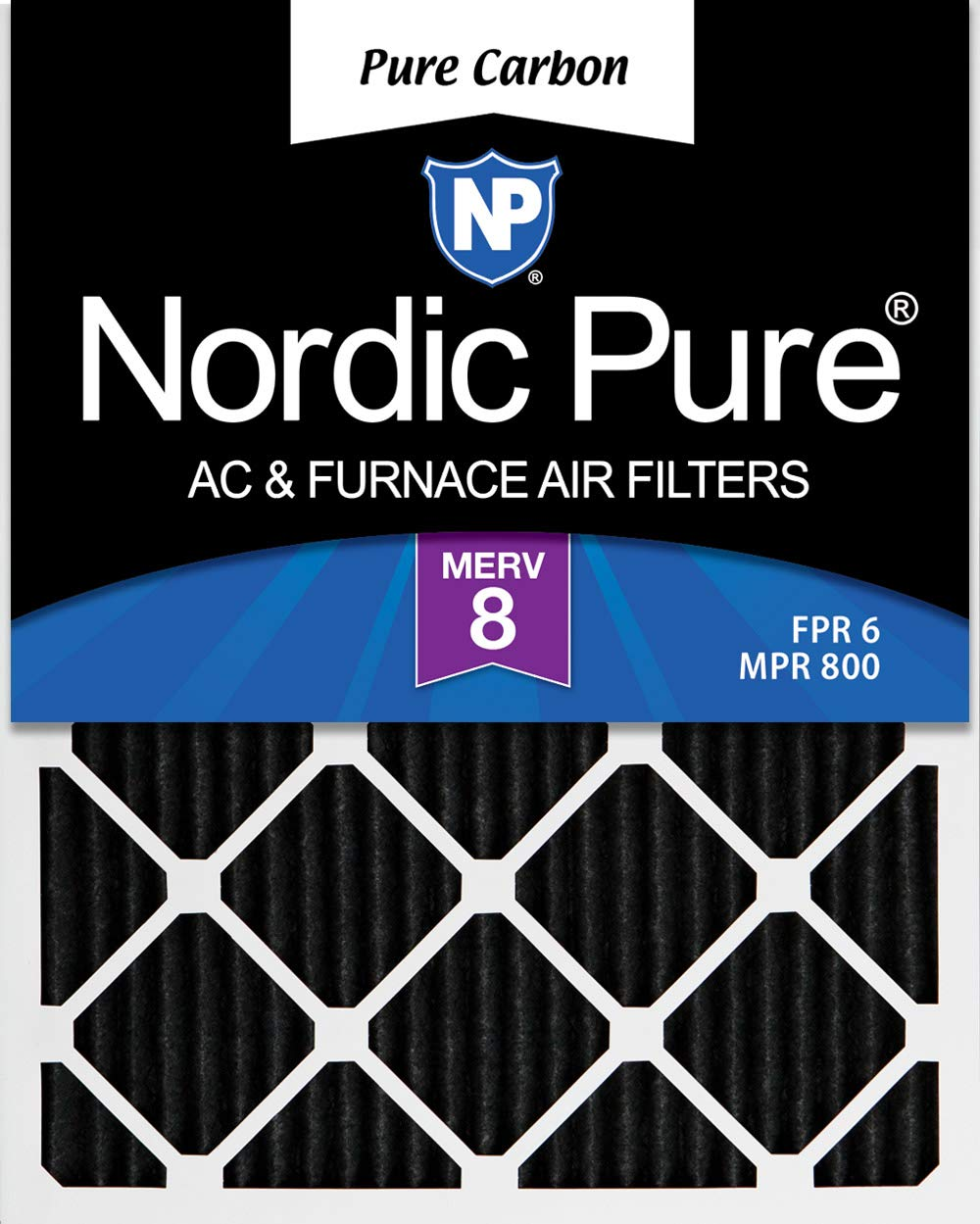 Nordic Pure 16x24x1 MERV 8 Pure Carbon Pleated Odor Reduction AC Furnace Air Filters 2 Pack